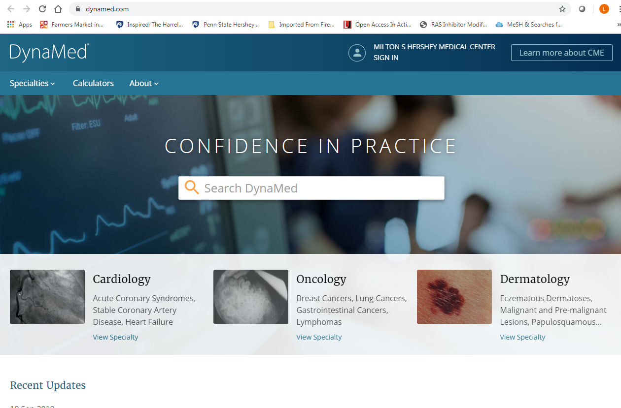 A screenshot of the DynaMed website shows a search box and highlights of particular areas of interest in clinical decision-making, such as cardiology and dermatology.