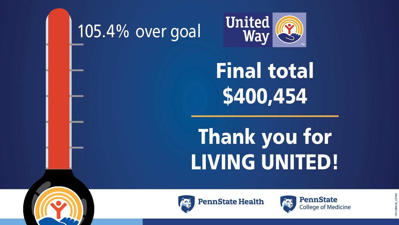 A thermometer is filled to the top, indicating that the United Way campaign exceeded its goal by 105.4%. The United Way logo is on the right side of the graphic. Below it is the text: final total $400,454. Thank you for LIVING UNITED! The Penn State Health and Penn State College of Medicine logos are at the bottom.