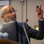 Dr. Emery Brown gestures during a lecture he is giving at Penn State College of Medicine in Fall 2019.