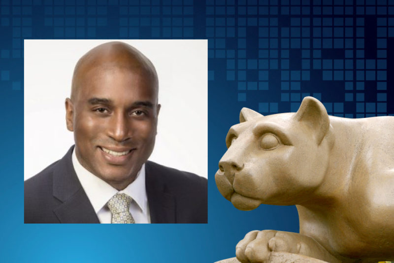 An image of Cletis Earle appears next to an image of a statue of the Penn State Nittany Lion.