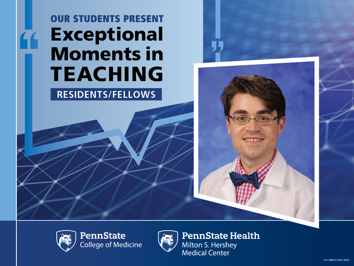 A portrait of Dr. Malone is superimposed on an abstract background with the words Our students present Exceptional Moments in Teaching - Residents/Fellows.