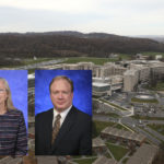 "Professional headshots of Patricia ""Sue"" Grigson and Scott Bunce superimposed over an aerial photo of the Milton S. Hershey Medical Center campus."