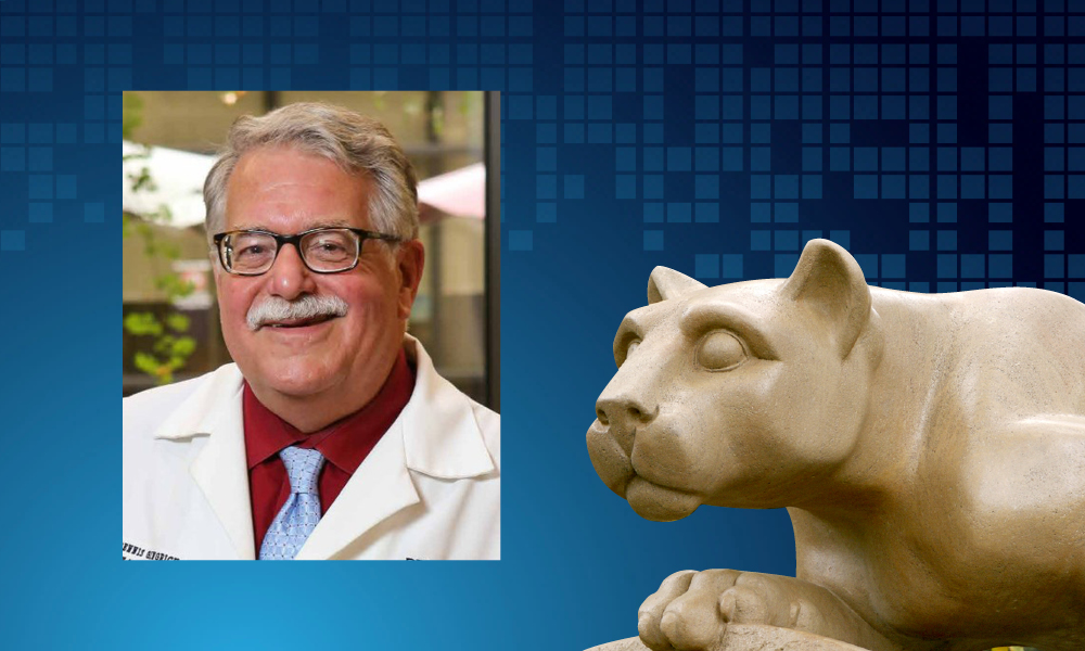 An image of Dr. Dennis Gingrich appears next to an image of a statue of the Penn State Nittany Lion.