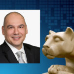 A professional headshot of Dr. Safa Farzin, positioned next to an image of a Penn State Nittany Lion statue.