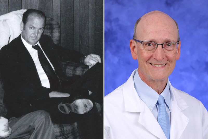 Two photos placed side-by-side. At left is a photo of Cpl. Chester Ray Trout, wearing a suit, seated. At right is a professional headshot of Dr. Robert Cilley, wearing a tie and physician's coat.