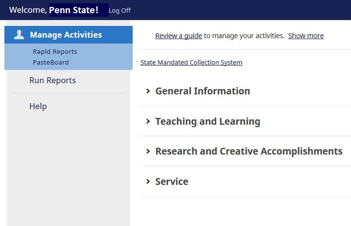 A screenshot of the Activity Insight software shows links for General Information, Teaching and Learning, Research and Creative Accomplishments and Service.