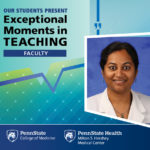 The image is a graphic that includes a photo of Dr. Kanthi Bangalore Krishna with the words Our Students Present Exceptional Moments in TEACHING Faculty