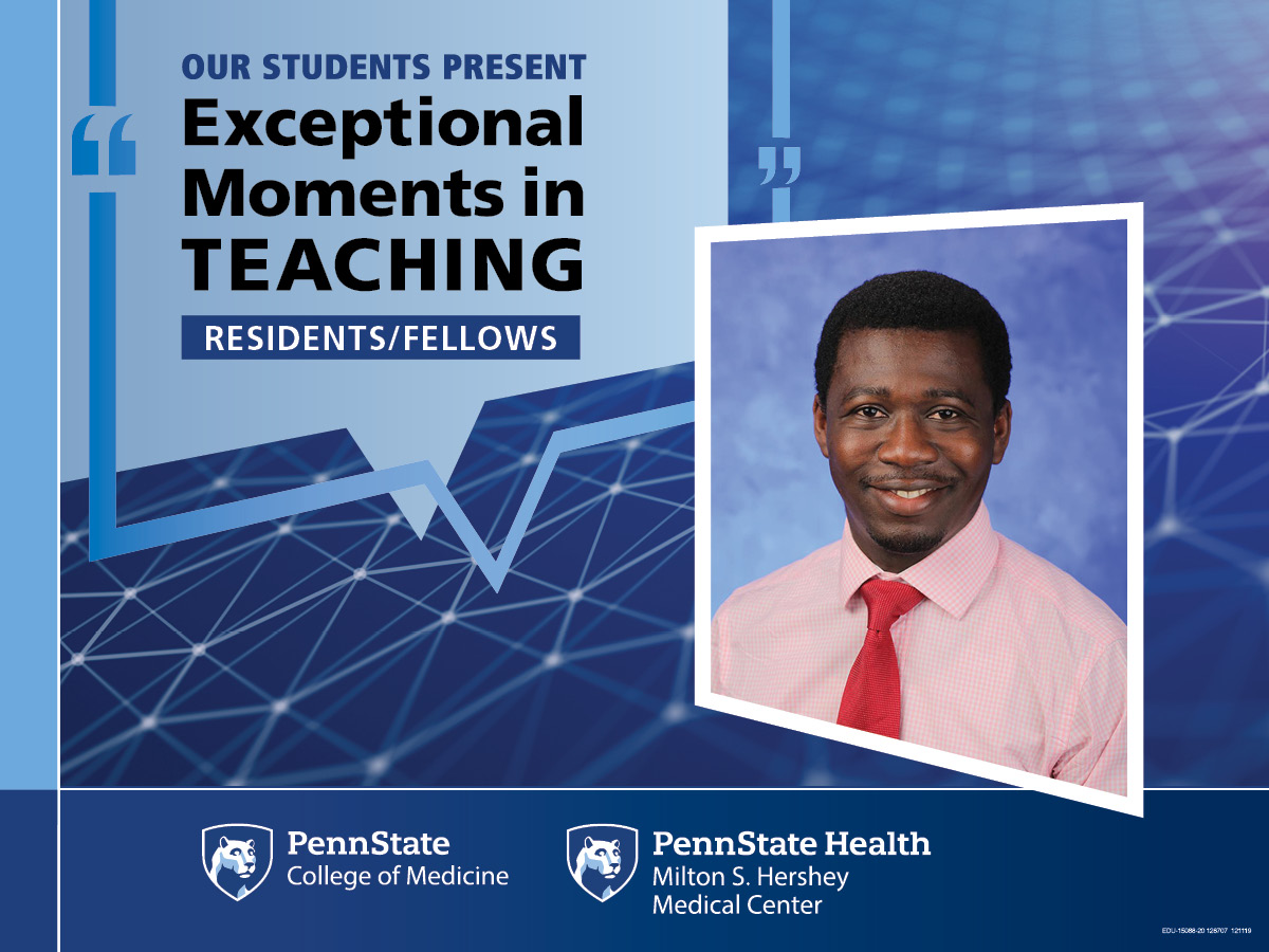 A portrait of Dr. Morawo is superimposed on an abstract background with the words Our students present Exceptional Moments in Teaching - Residents/Fellows.