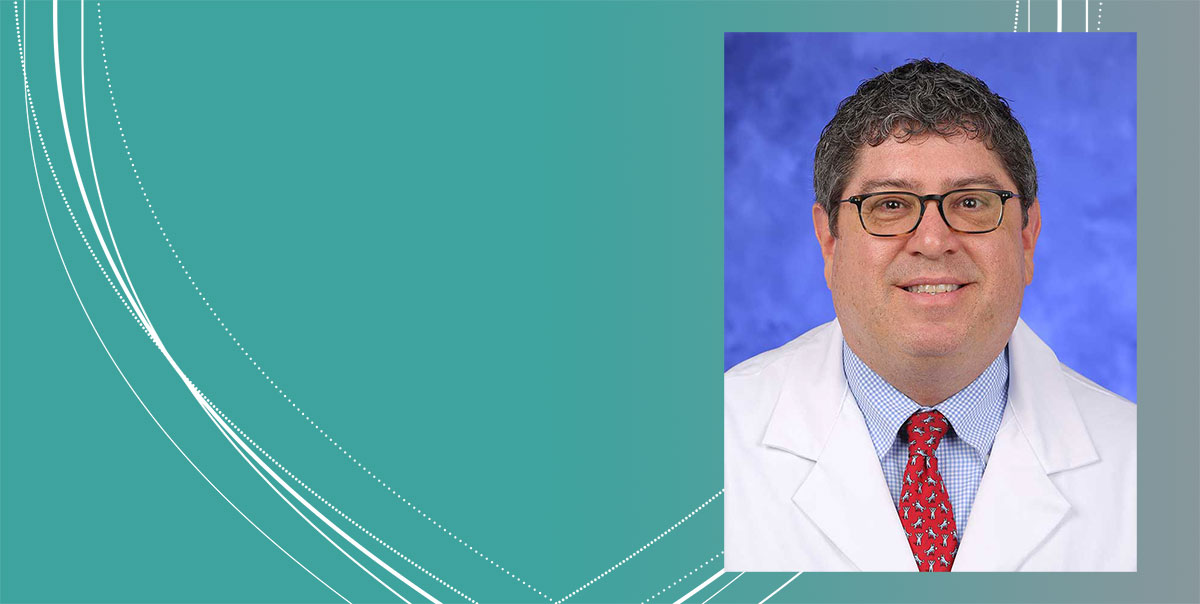 A professional head-and-shoulders photo of Dr. Rodney Ellis of Penn State College of Medicine is seen superimposed on a colored background with a stylized image of Penn State's signature shield.