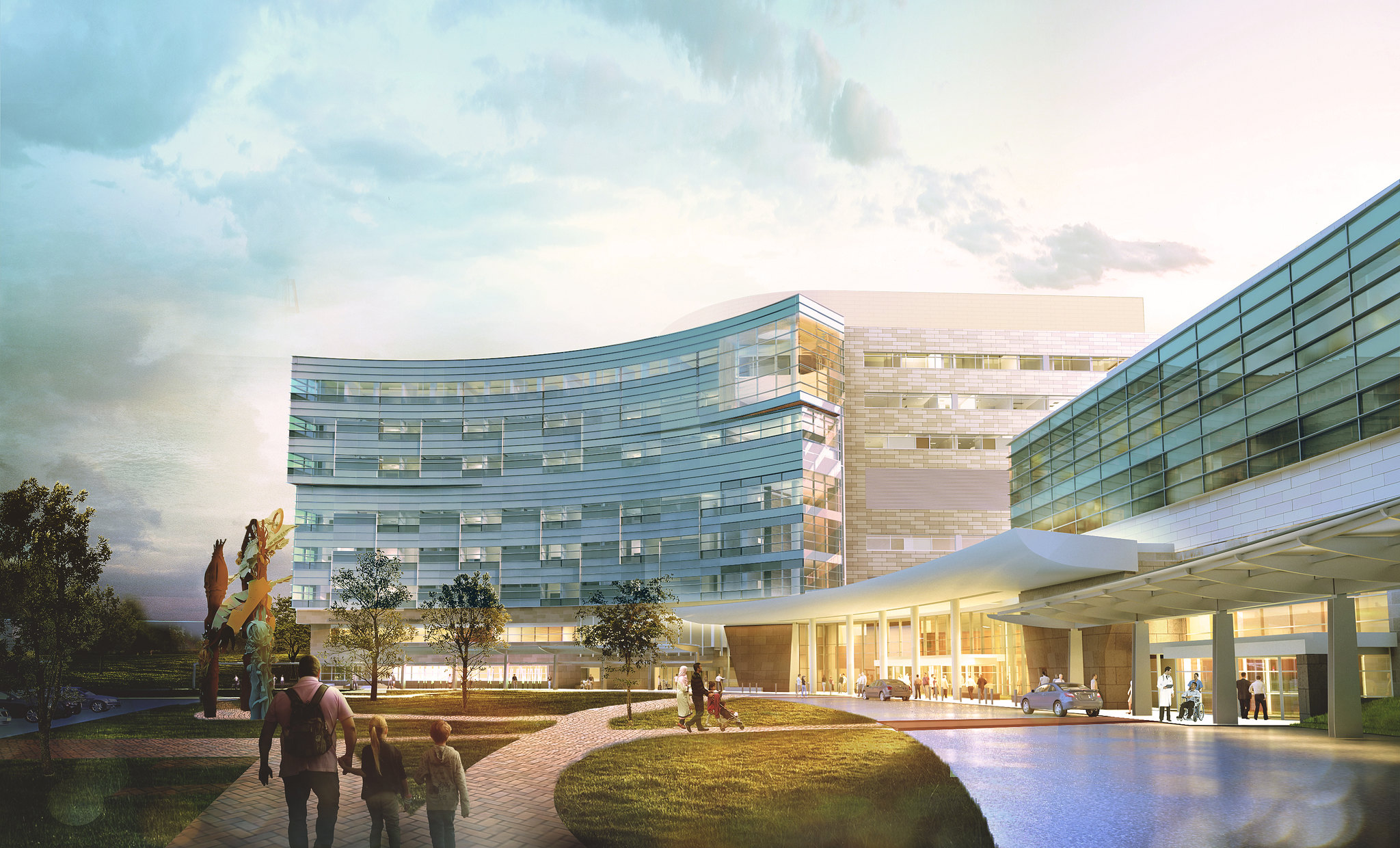 A drawing shows what Penn State Children's Hospital will look like when its expansion is complete – a brick and steel building with crescent shape in front.