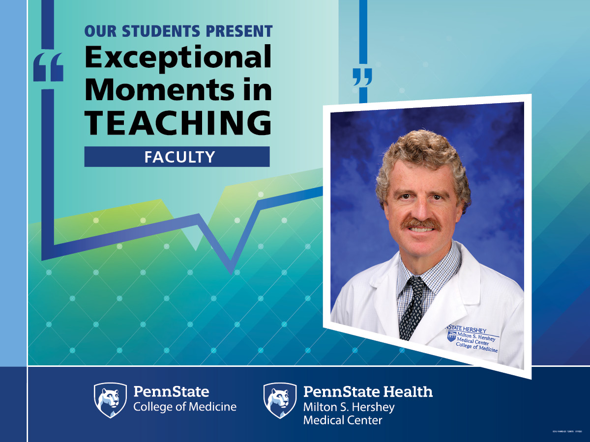 "The image shows a portrait of Dr. Leuenberger along with the words, ""Our Students Present Exceptional Moments in Teaching Faculty."""