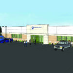 A rendering of the Penn State Health Muhlenberg Outpatient Center shows a one-story building with a sign of the Penn State Health logo over the entrance and cars parked around it. Six people are shown walking in and around the building.
