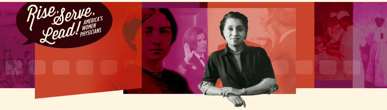 A promotional image for the National Library of Medicine's Rise Serve Lead program about female physicians includes photos of female scientists with the project title overlaid.