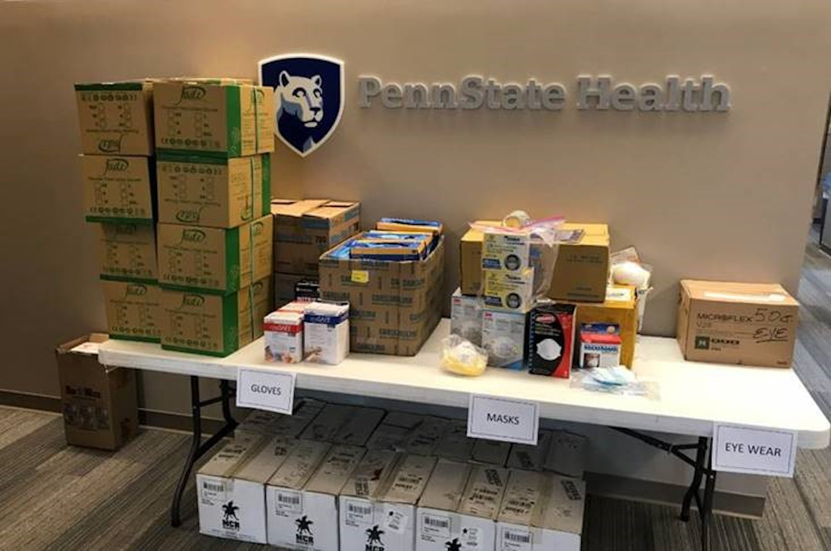 Image shows a table full of donated medical supplies