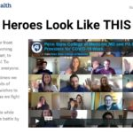 A screen capture of the Heroes Look Like This website shows a grid of photos of Penn State College of Medicine medical and physician students smiling and waving. The text on the left side of the screen reads: From our frontlines to your front yards, our community is coming together, while staying apart, to achieve one common goal: To ensure the best health for everyone. During these challenging times we ask you to share your words of encouragement and well-wishes to any hero doing their part as we fight this pandemic. Best of all? You can do this while doing your own part in this battle by staying at home.