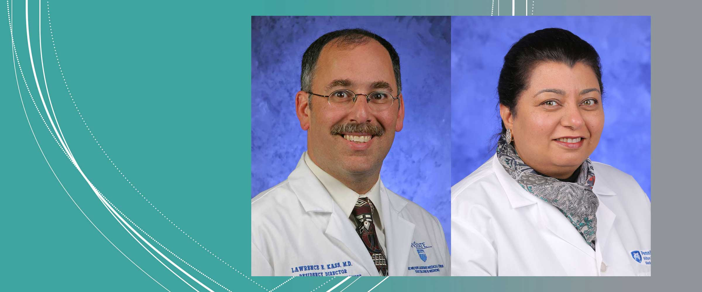 Professional head-and-shoulders photos of Dr. Lawrence Kass and Dr. Omrana Pasha are seen superimposed on an abstract background.