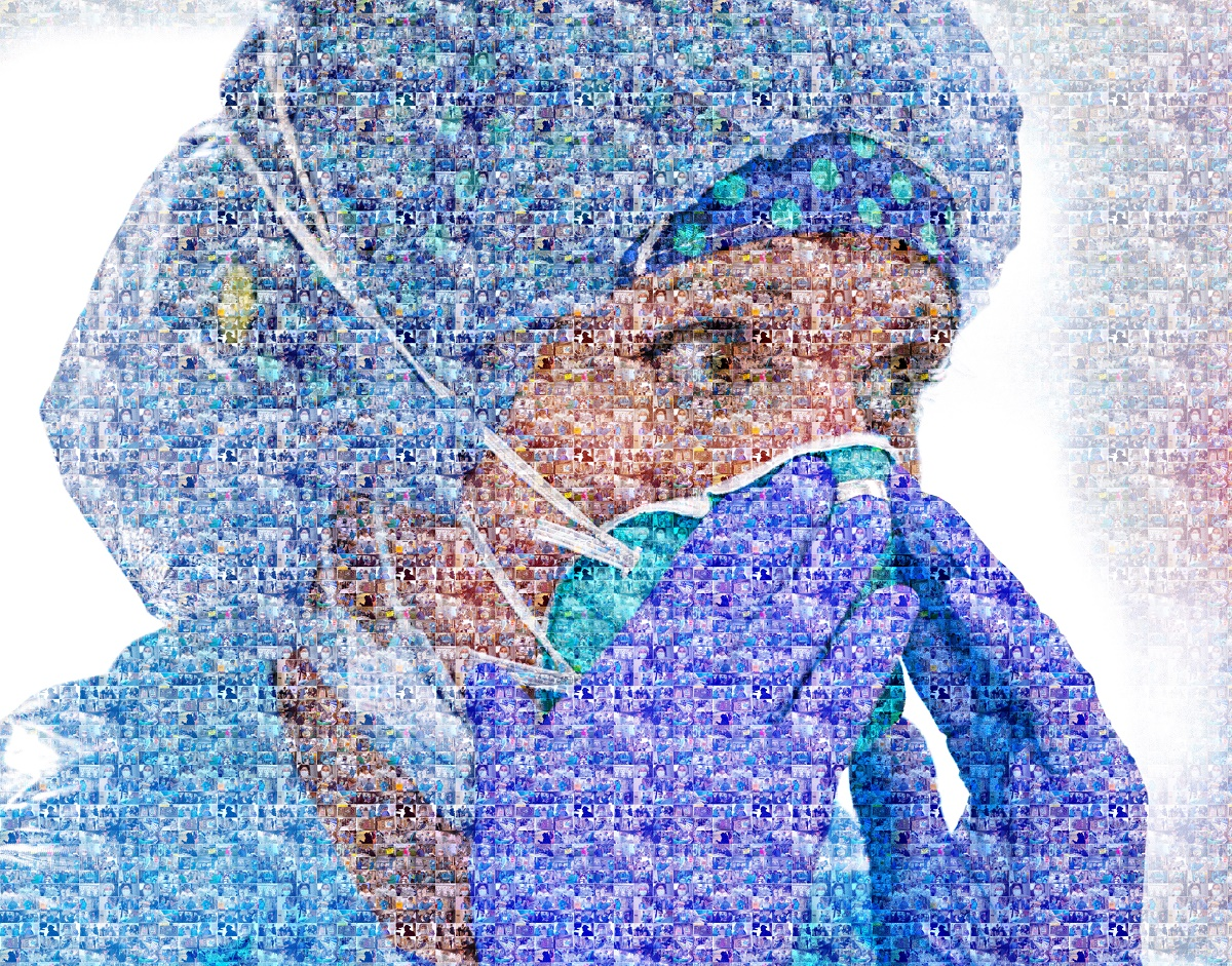 A mosaic image shows a woman nurse with a cap, scrubs and gloves pressing a face mask to her face. The mosaic tiles are images of other nurses.