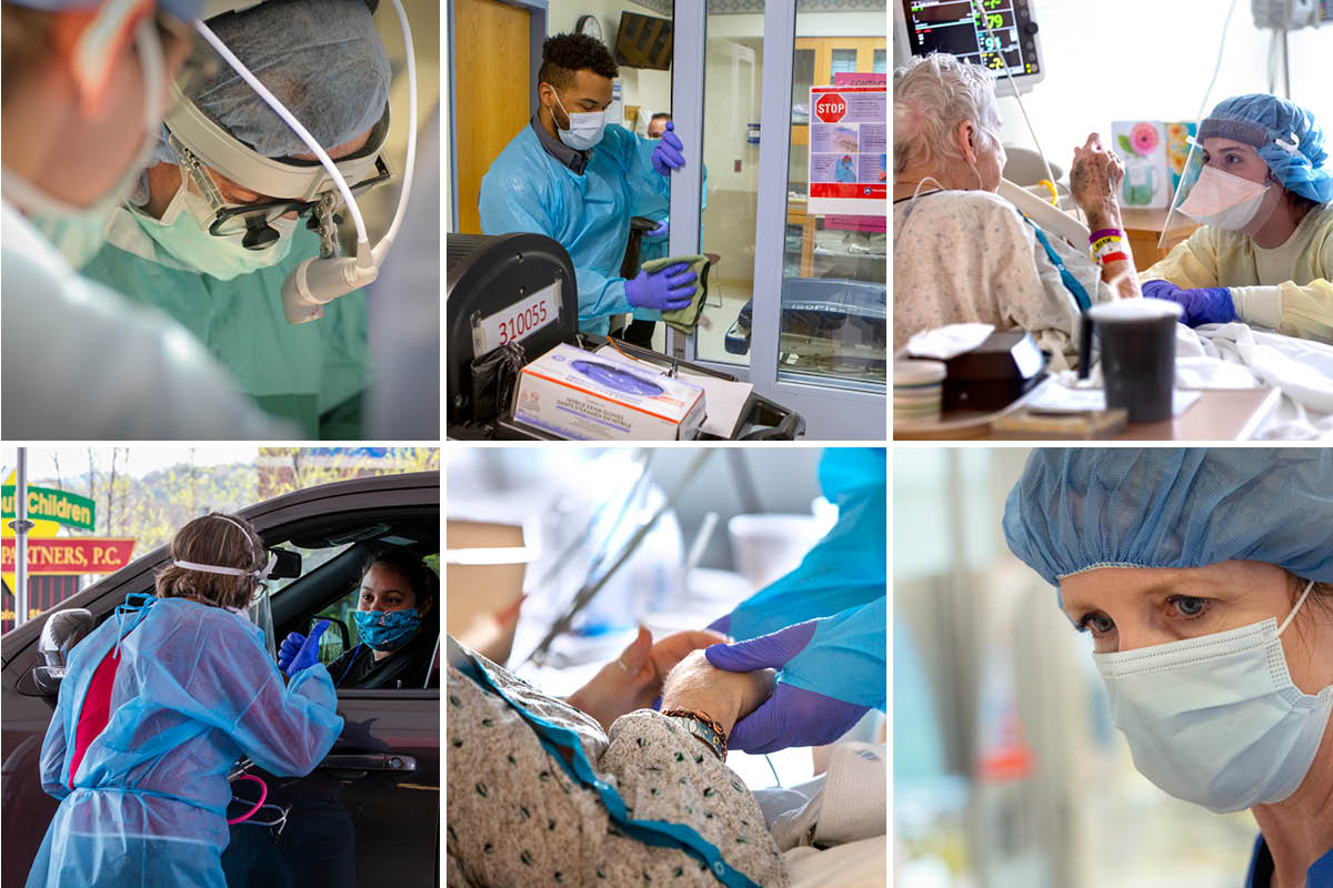 A mosaic of six images depicting various medical settings.