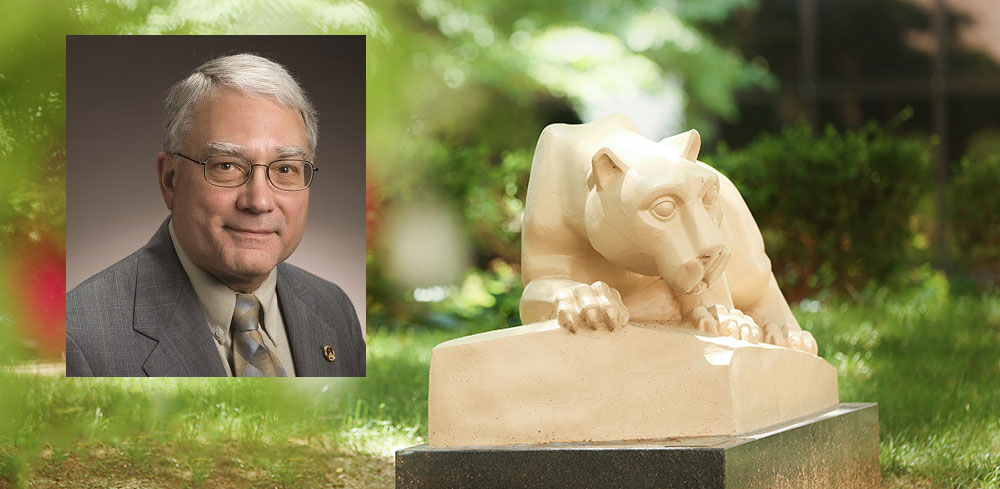 A head-and-shoulders professional photo of Dr. Donald Martin is superimposed on a photo showing Penn State's Nittany Lion statue.