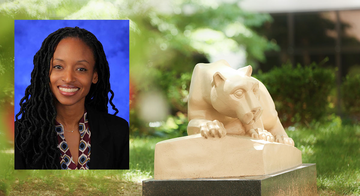 A head-and-shoulders professional photo of Dr. Kelly Holder is superimposed on a photo of Penn State's Nittany lion statue in an outdoor courtyard.