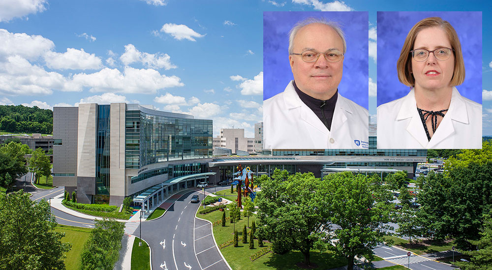 Head-and-shoulders professional photos, one of a man and one of a woman, are superimposed on an aerial photo of Penn State Health Milton S. Hershey Medical Center.