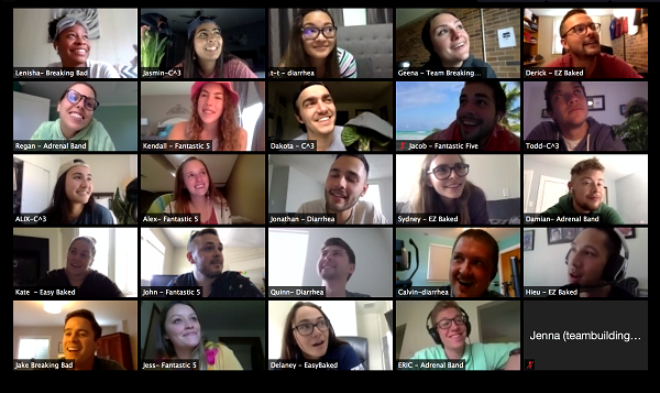 A screenshot shows a collage of the faces of 24 students on their webcams.