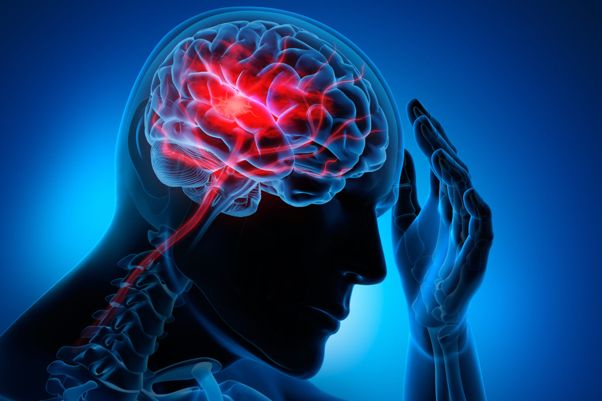 A graphic depicting a person putting their left hand to their head, in which there is a tri-color depiction of a brain.