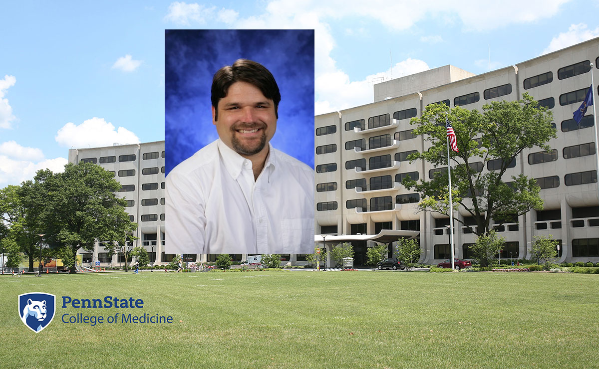 A head-and-shoulders professional photo of Jeffrey Yanosky is superimposed on a photo of Penn State College of Medicine's Crescent building in Hershey, Pa.