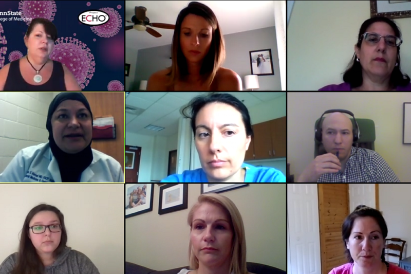 Nine people participate in a virtual meeting where information on preventing COVID-19 outbreaks in large skilled nursing facilities is discussed.