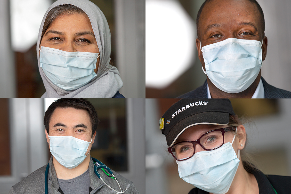 A four-photo collage composed of two men and two women, all of them posing as they wear face masks.