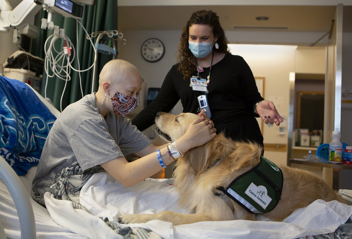 Emma Munger wears a mask and leans forward in a hospital bed to pet Becky, a golden retriever, who stares into Munger's eyes. Behind them stands a woman in a mask and lanyards.