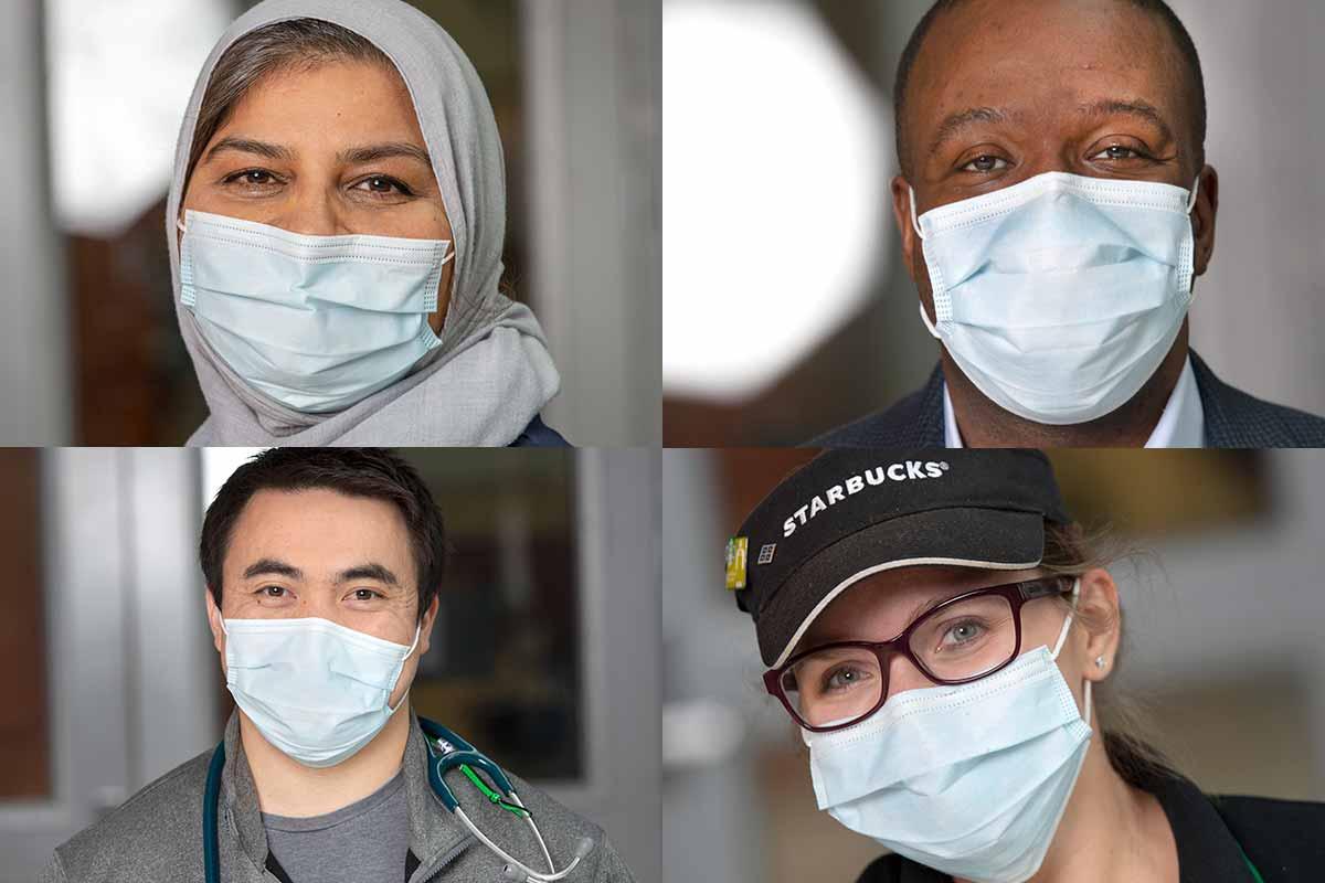 Un collage de cuatro fotos compuesto por dos hombres y dos mujeres, todos ellos posando como llevan máscaras faciales.