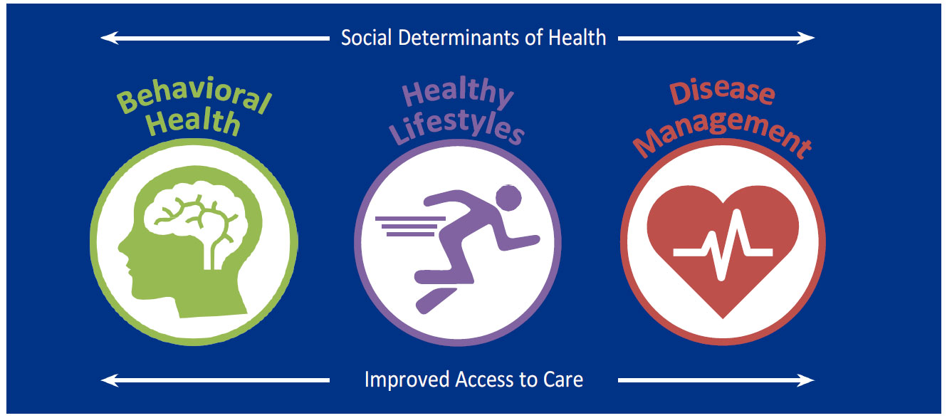 A graphic from the Community Health Needs Assessment shows the words Social Determinants of Health and Improved Access to Care on the top and bottom, respectively, of three icons labeled Behavioral Health, Healthy Lifestyles and DIsease Management.