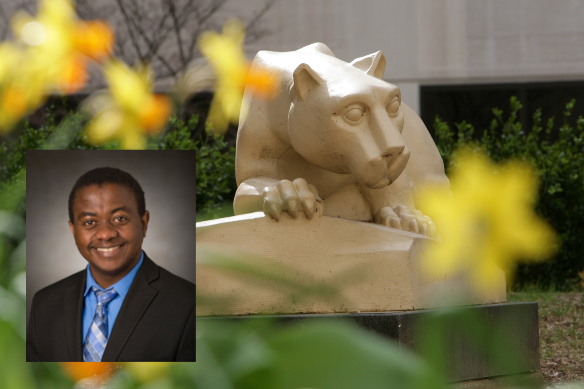 A professional headshot of Dr. Paddy Ssentongo, superimposed over a photo of a Nittany Lion statue. The statue is surrounded by flowers, slightly out of focus.
