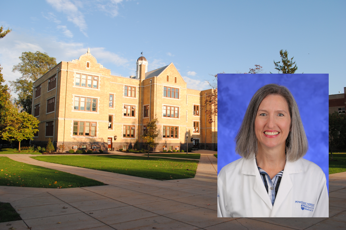 A professional headshot photo of Dr. Levelle Drose-Bigatel superimpsoed over a photo of a Lebanon Valley College building.