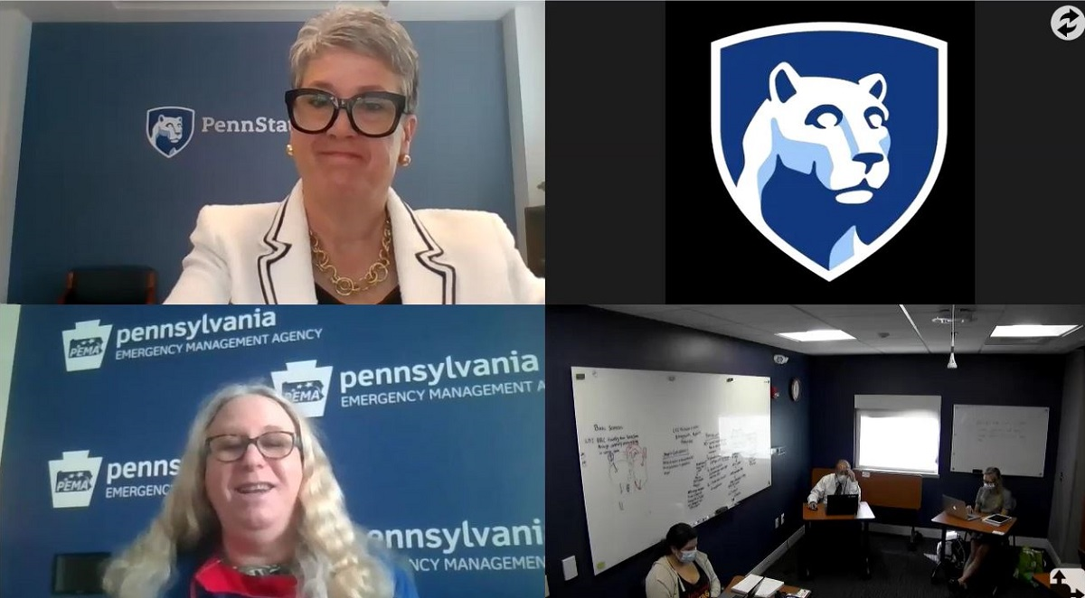 A rectangle is divided into four quadrants. From top left, clockwise are: a woman with short hair and wearing eyeglasses, the Penn State Nittany Lion logo, several people sitting at tables social distancing, and a woman with long hair and wearing glasses.