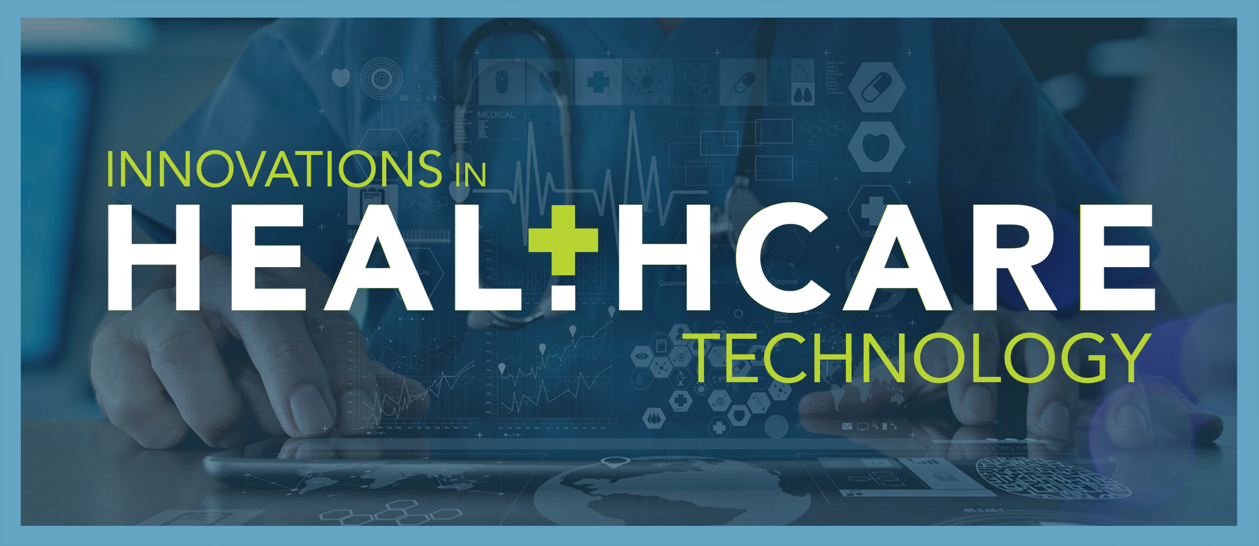 A banner image for the Innovations in Health Care Technology conference includes the event name atop a faded abstract image of a person working at a computer.