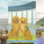 The cover of Becky and Kaia's New Addition: A Tale of Penn State Children's Hospital is superimposed over a photo of the Children's Hospital.