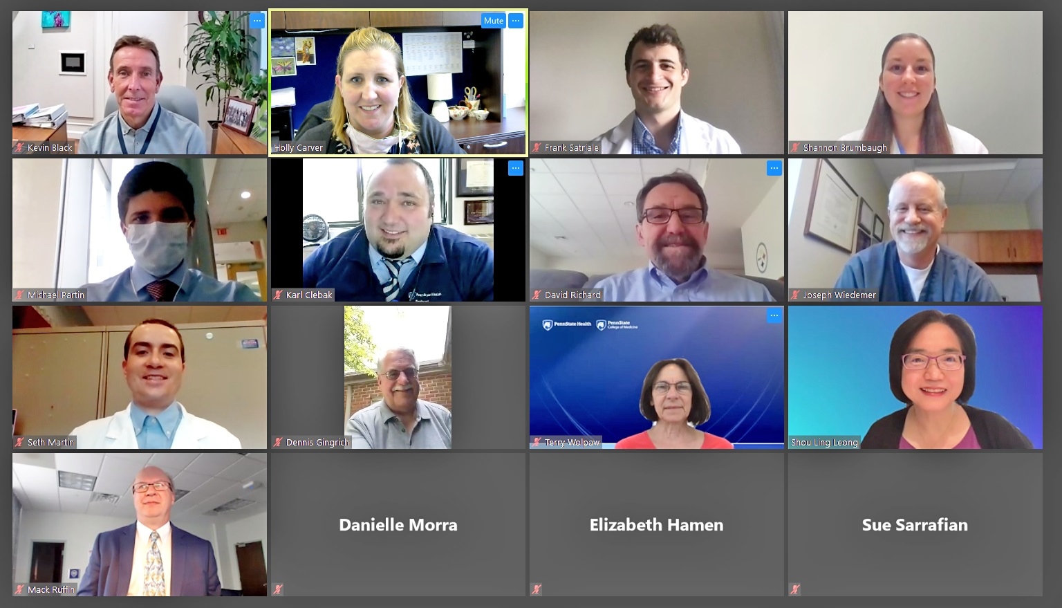 A screenshot from a Zoom videoconference shows a grid of 16 smaller images, each with showing a person on video chat or their name.