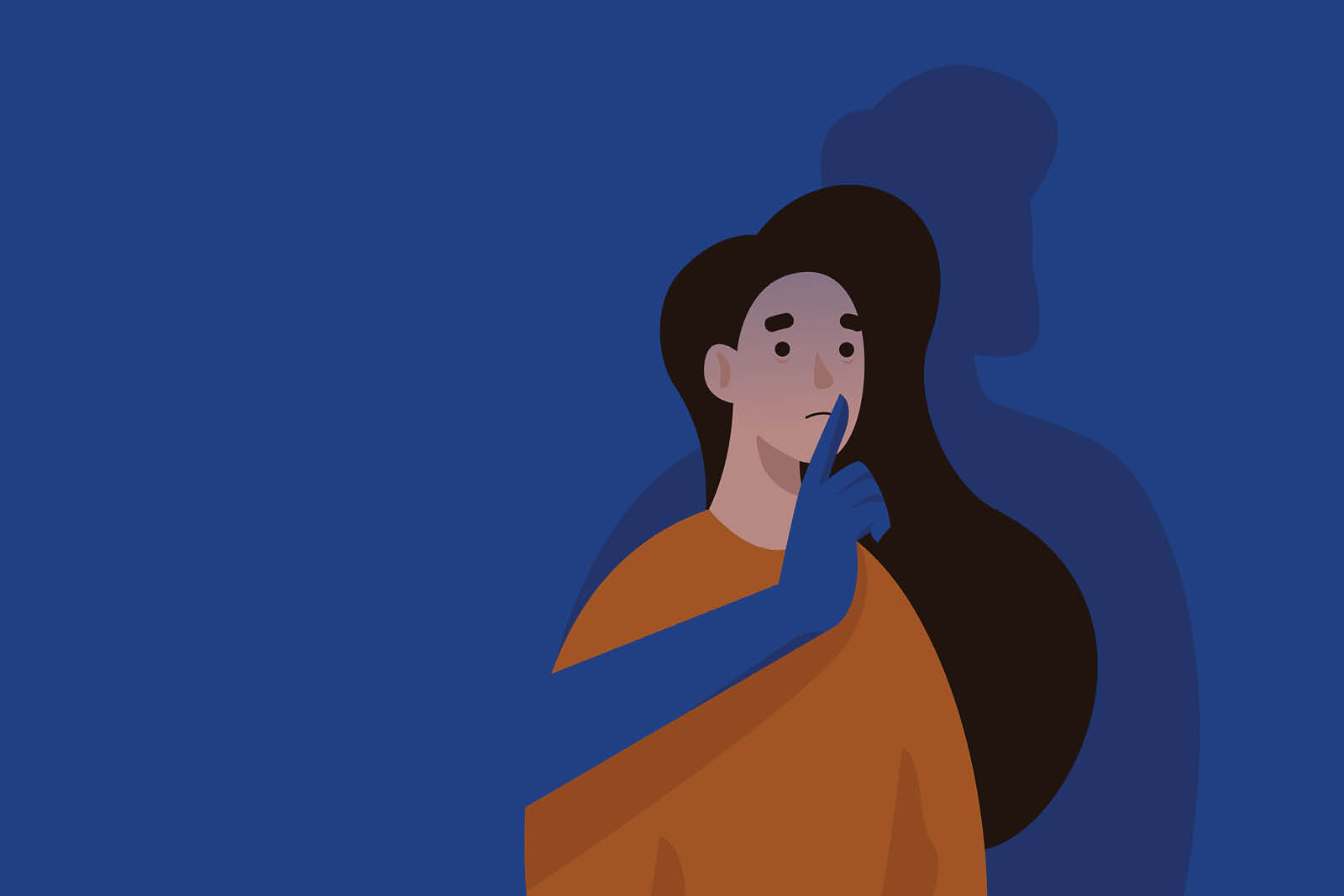 An illustration depicting a woman with a sad expression on her face. A shadowed figure stands behind her with its arm outstretched in front of her, with its index finger extended near her mouth.