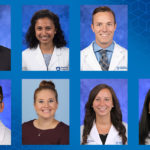 Six head-and-shoulders professional photos of students are overlaid on a patterned background.