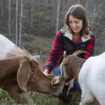 Nicolle Krebs smiles as she feeds three goats outdoors. She is wearing a plaid jacket and has shoulder-length hair. One goat is eating out of a bucket. The other two are waiting for their turns.