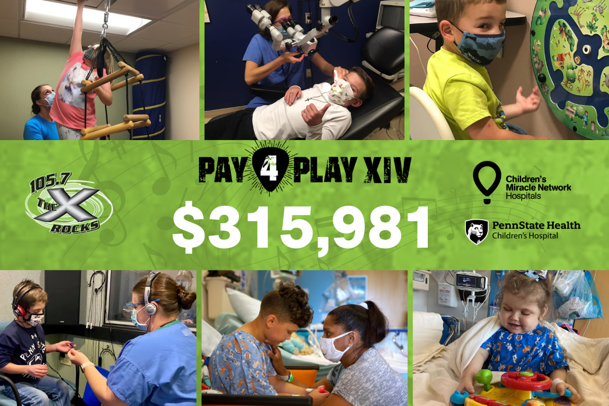A photo collage of images from around Penn State Children's Hospital. In the middle are logos for 105.7 The X, CMN and Penn State Children's Hospital, as well as the dollar total: $315,981.