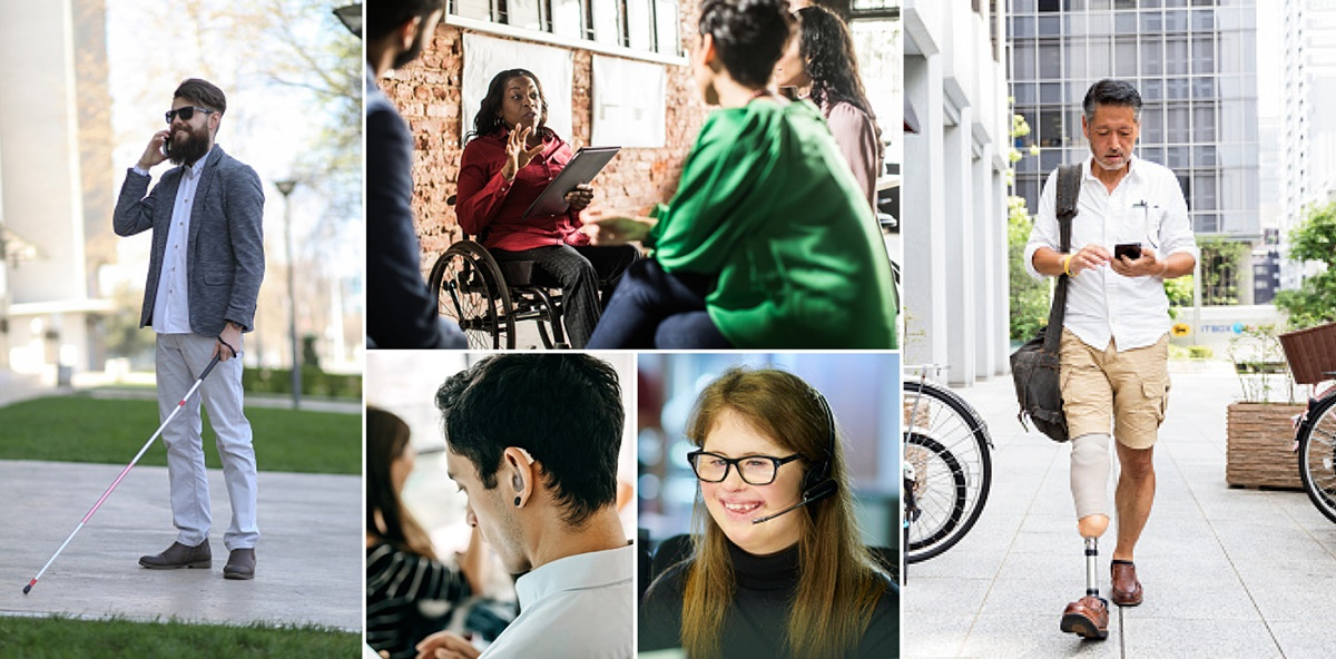 Five different photos show diverse people with a disability. Clockwise from left are a blind man, a woman in a wheelchair talking to three people, a man with a prosthetic leg, a woman with Down's syndrome and a man with a hearing aid.