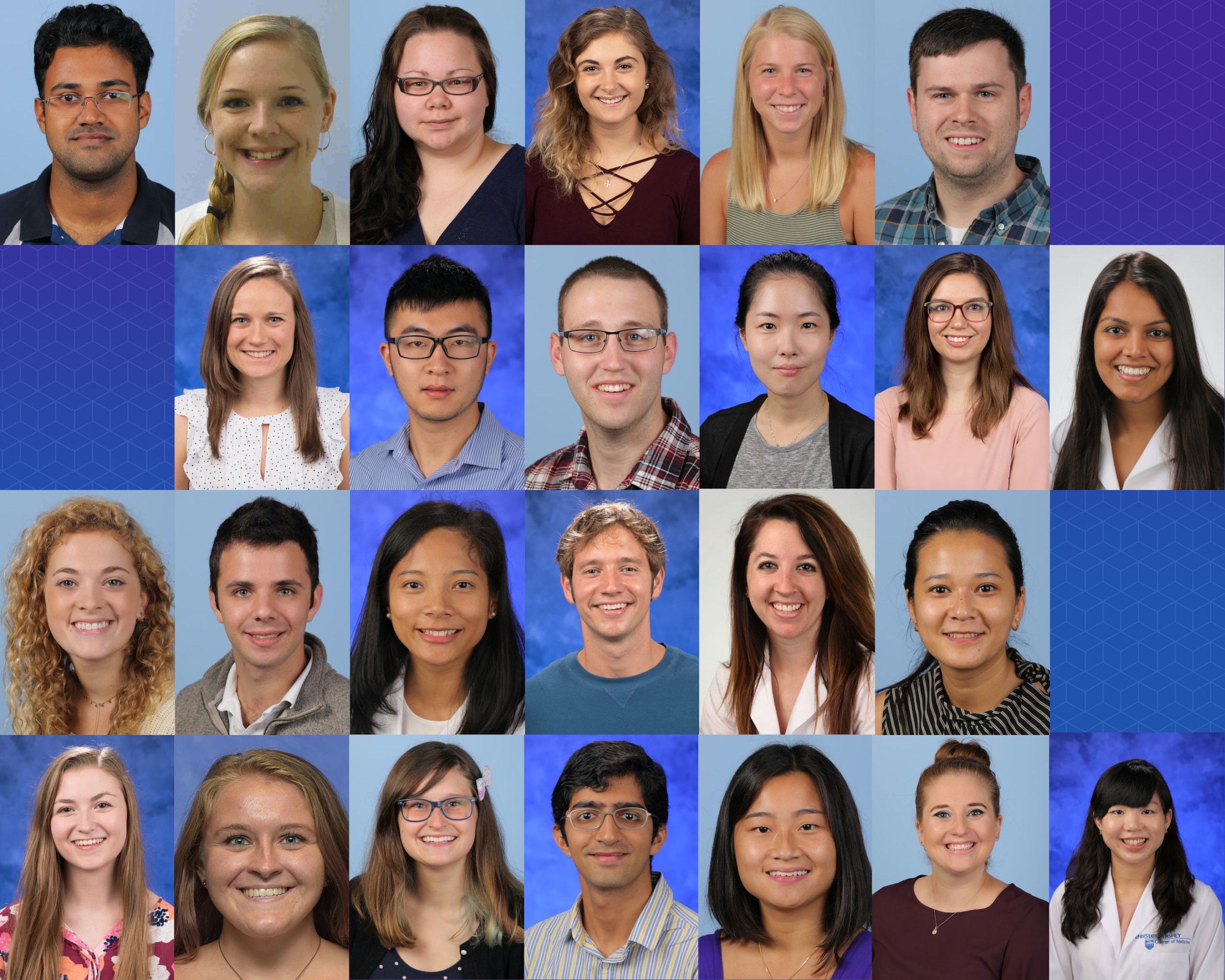 A collage shows professional head-and-shoulders photos of 25 Penn State College of Medicine graduate students.