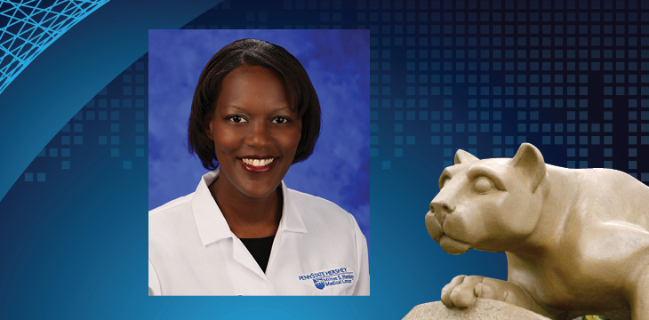 A head and shoulders professional photo of Dr. Rebecca Phaeton, a black woman, is superimposed on the lion.