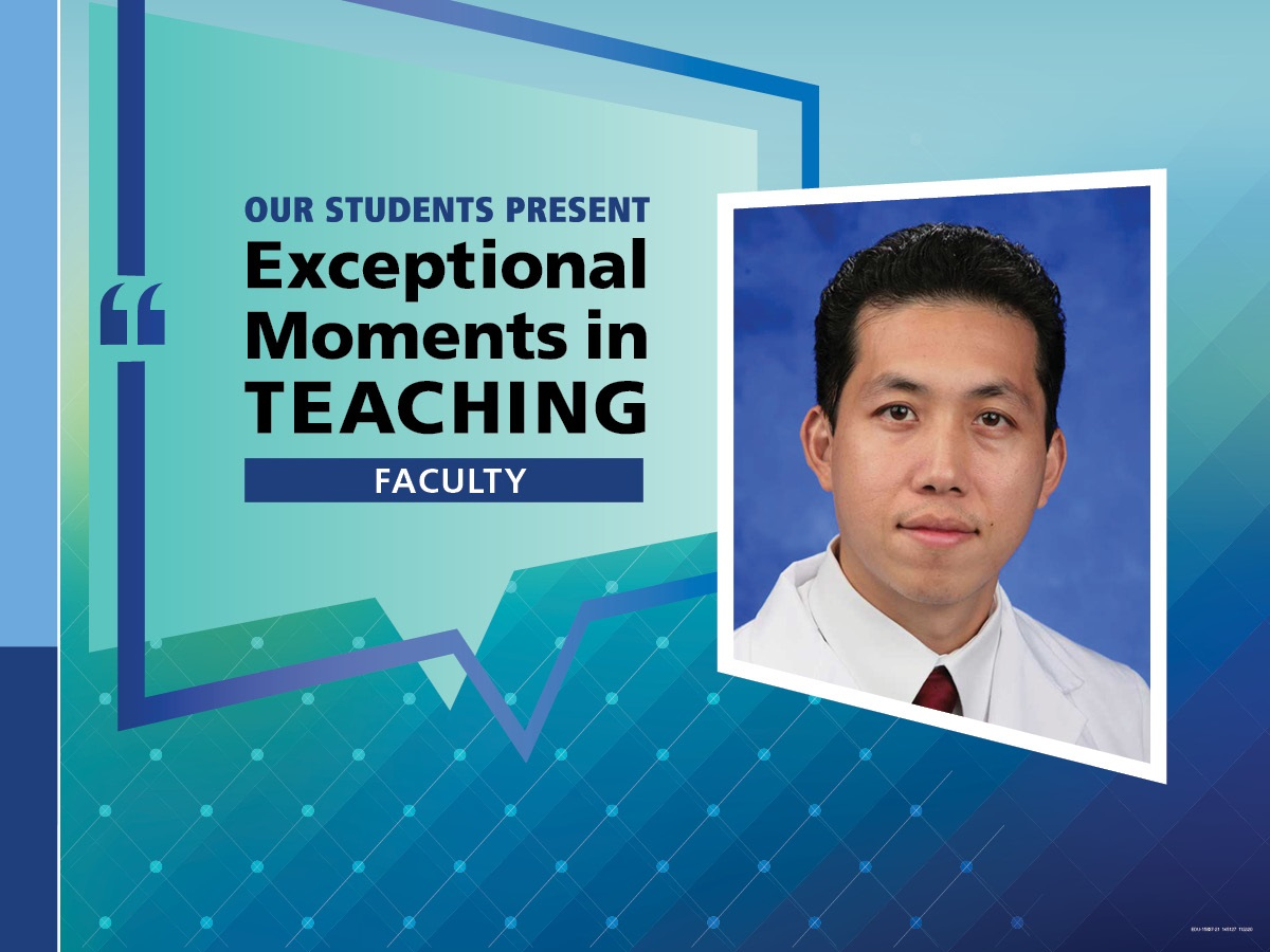 """An Illustration shows Dr. Jerome Lyn-Sue's mugshot on a background with the words """"OUR STUDENTS PRESENT Exceptional Moments in Teaching faculty."""""""