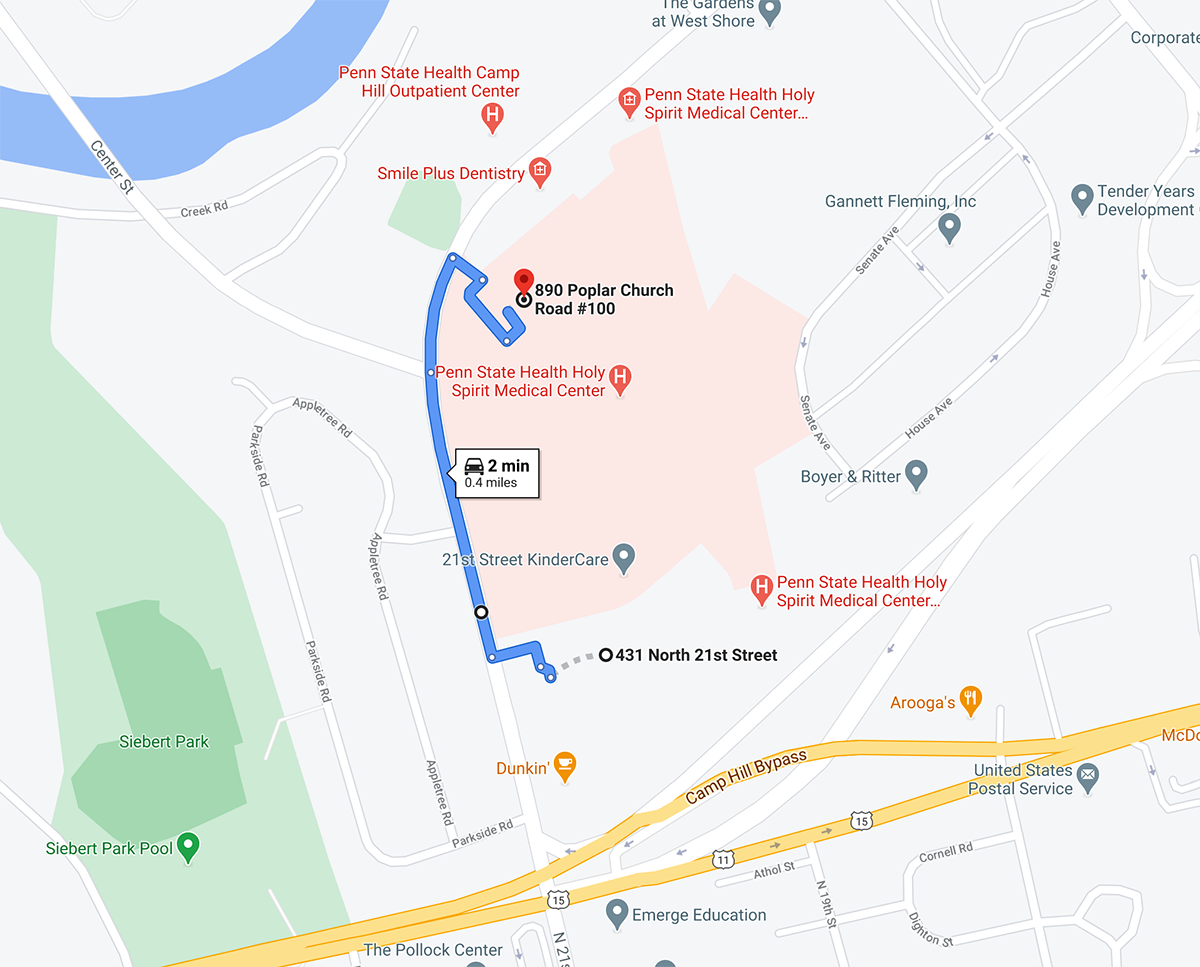 A map shows the location of the former Spirit Urgent Care in Camp Hill and the Medical Arts Building.