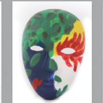 Four brightly painted full-face masks with eyeholes are seen, depicting the outer identities of their creators.