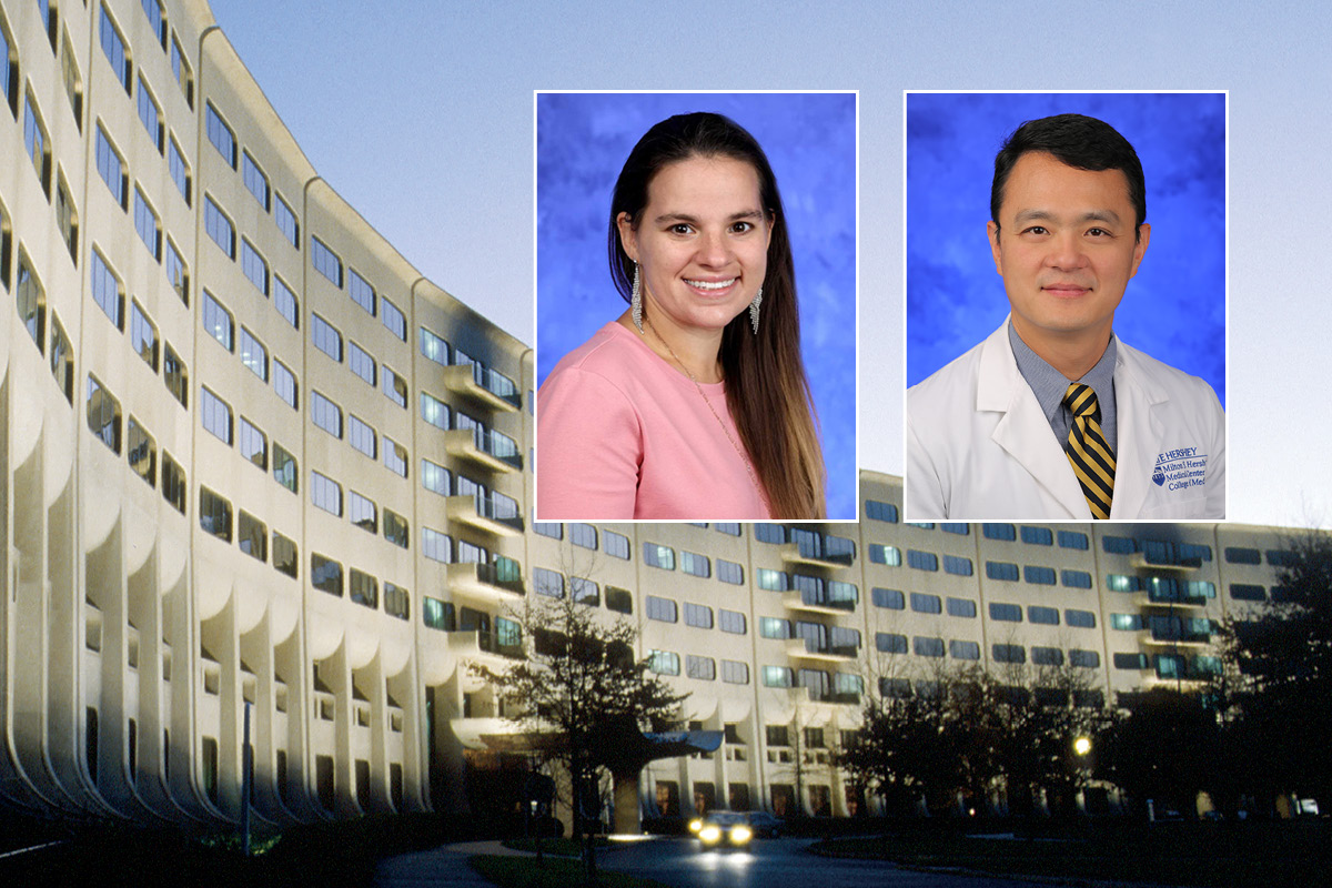 Head and shoulders professional portraits of Anna Ssentongo and John Oh against an image of Penn State College of Medicine